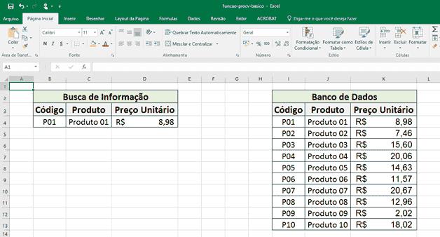 Função Procv: Exibindo o Preço Unitário