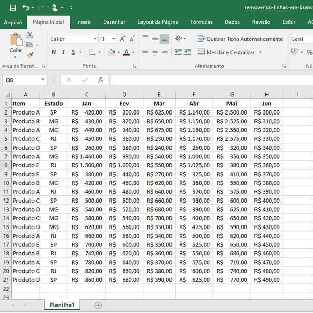 Removendo linhas em branco no Excel