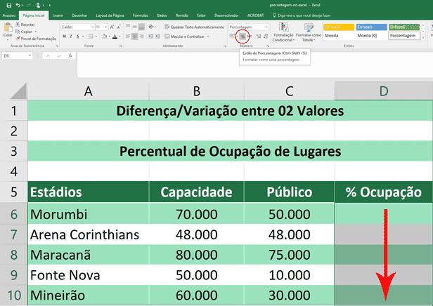 Porcentagem no Excel - Variação Entre Dois Valores - Formatação