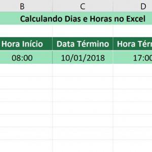 Calculando dias e horas no Excel - Resultado final