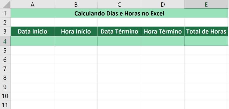 Calculando dias e horas no Excel -Selecionando a hora