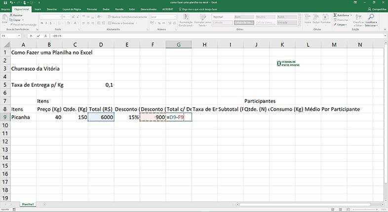 Mais uma fórmula: Calculando o Total c/ Desconto