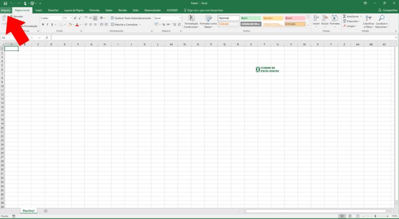 Como fazer uma planilha no Excel | Clique em Arquivo