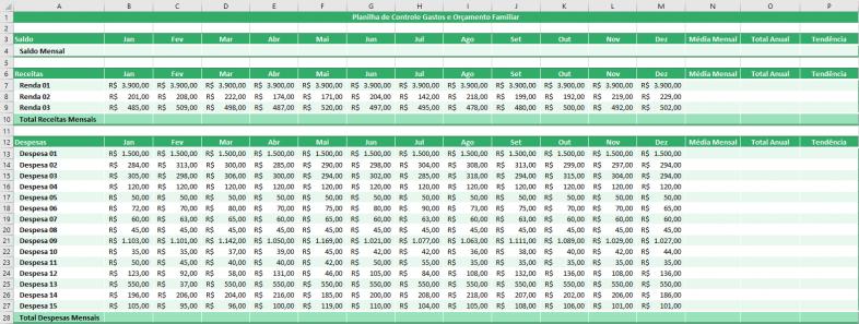 Inserindo Dados - Planilha para Controle de Gastos e Despesas Mensais